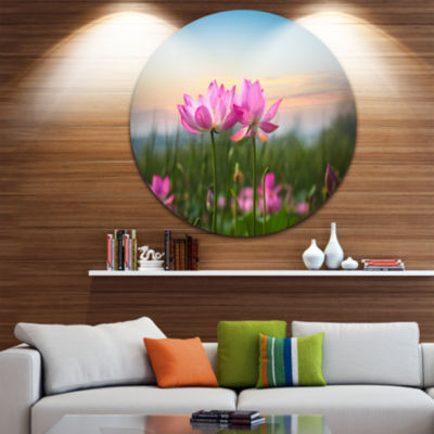 Design Art Blooming Lotus Flowers at Sunset FloralPhoto Circle Metal Wall Art