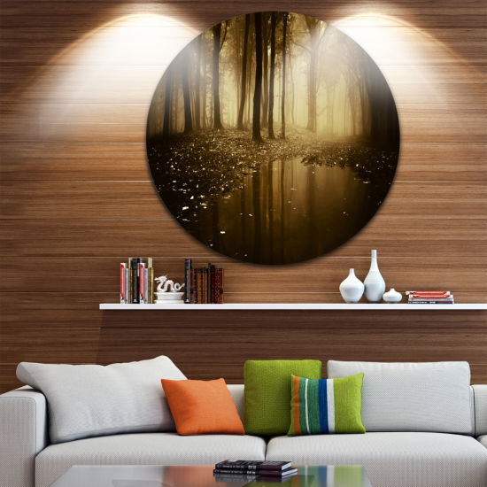 Design Art Lake in Forest with Fall Fog Circle Landscape Circle Metal Wall Art