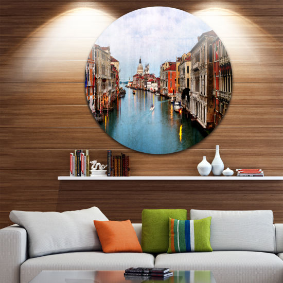 Design Art Retro Style Grand Canal at Sunset Landscape Photography Circle Metal Wall Art