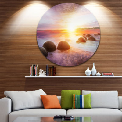 Design Art Evening Sun Over Moeraki Boulders Seashore Photo Circle Metal Wall Art