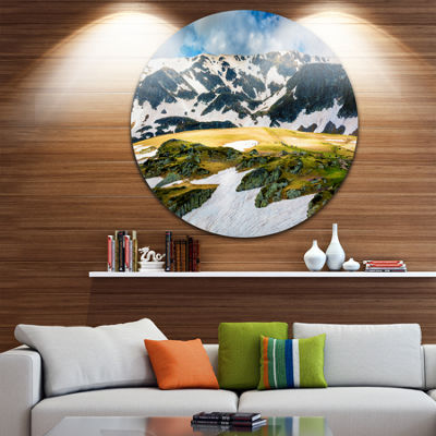Design Art Rila lakes and Mountains in Bulgaria Ultra Vibrant Landscape Metal Circle Wall Art