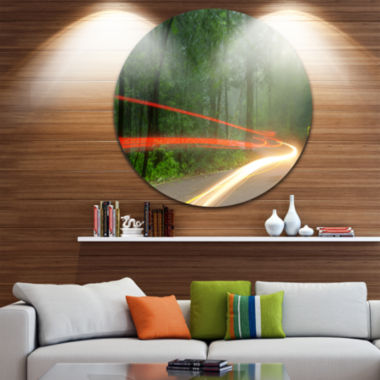 Design Art Foggy Morning with Sun Rays Landscape Photo Circle Metal Wall Art