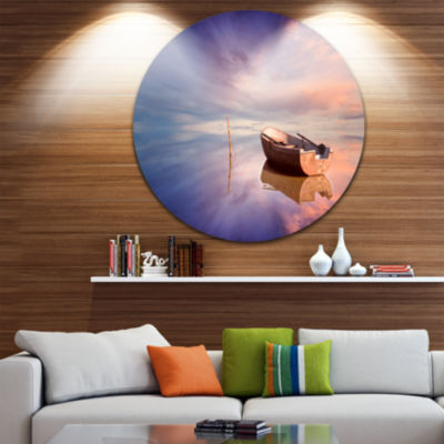 Design Art Lonely Boat in Colorful Sea Seascape Circle Metal Wall Art