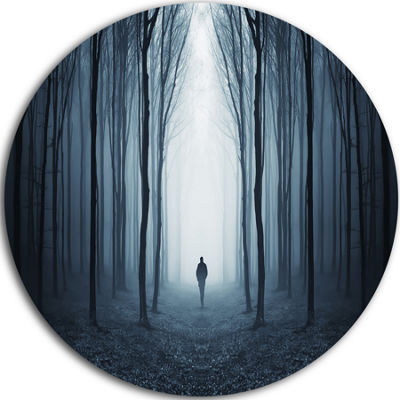 Design Art Man Walking Along in Misty Forest Circle Landscape Circle Metal Wall Art