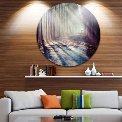 Design Art Strong Sunbeams in Thick Forest Landscape Photography Circle Metal Wall Art