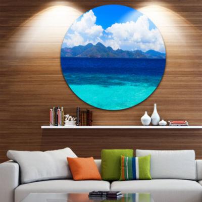 Design Art Beauty Blue Beach Ultra Vibrant Seascape Metal Circle Wall Art
