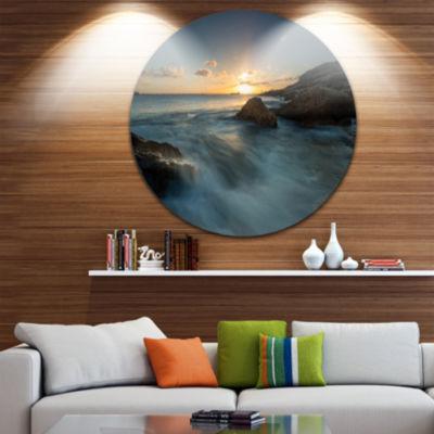 Design Art Sydney Seashore at Sunset Ultra VibrantSeascape Oversized Circle Wall Art