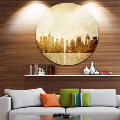 Design Art New York Skyline Grunge View Ultra Vibrant Cityscape Metal Circle Wall Art