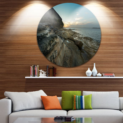 Design Art Rocky Sydney Beach View Ultra Vibrant Seascape Oversized Circle Wall Art