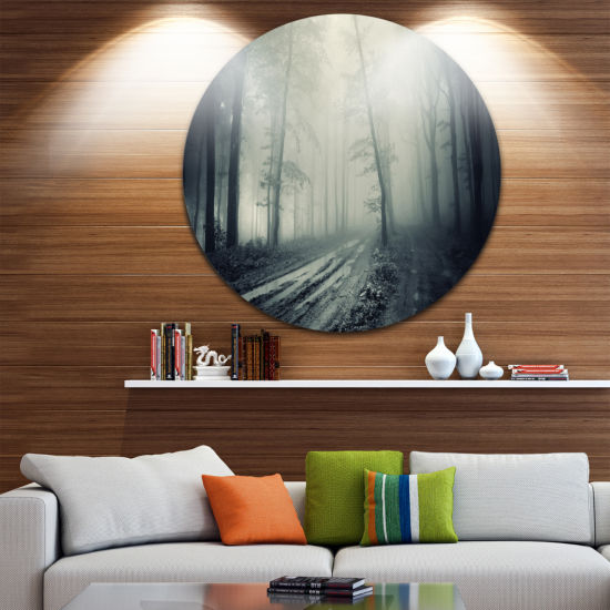 Design Art Spooky Dark Forest with Fog Circle Landscape Circle Metal Wall Art