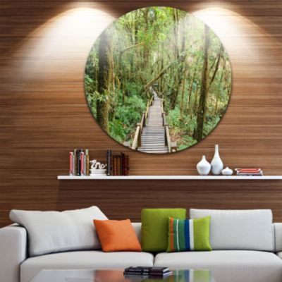 Design Art Walk Way in Deep Forest Landscape PhotoCircle Metal Wall Art