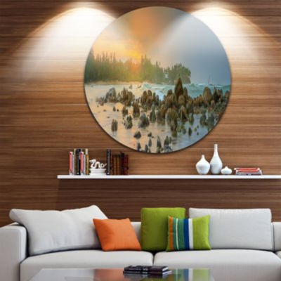 Design Art Romantic Untouched Beach Sunset Ultra Vibrant Landscape Metal Circle Wall Art