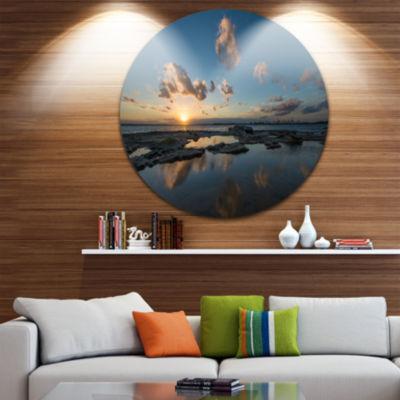 Design Art Sunset at La Perhouse Beach Ultra Vibrant Seascape Oversized Circle Wall Art