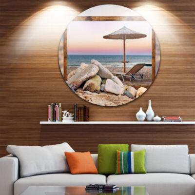 Design Art Framed Effect Beach Seating Seashore Circle Metal Wall Art
