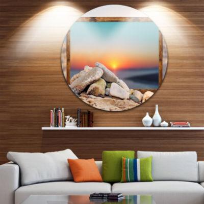 Design Art Framed Effect Effect Blurred Beach Seashore Circle Metal Wall Art