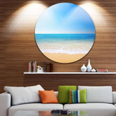 Design Art Blue Waves at Tropical Beach Seashore Photo Circle Metal Wall Art