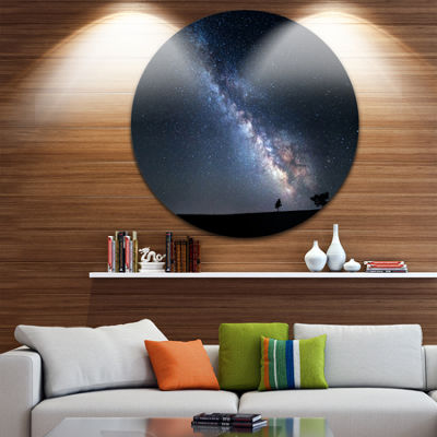 Design Art Summer Night with Stars in Crimea Circle Landscape Circle Metal Wall Art