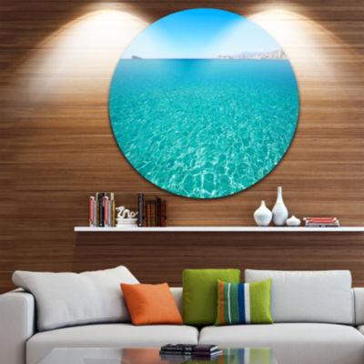 Design Art Blue Benidorm Levante Beach Ultra Vibrant Seascape Metal Circle Wall Art