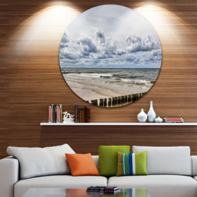 Design Art Stormy Weather in Hiddensee Sea Ultra Vibrant Seascape Metal Circle Wall Art