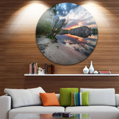 Design Art Sunset at River with Large Rock Landscape Photo Circle Metal Wall Art