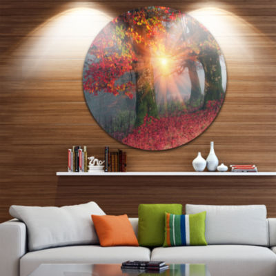Design Art Yellow Sun in Red Autumn Forest Landscape Photography Circle Metal Wall Art
