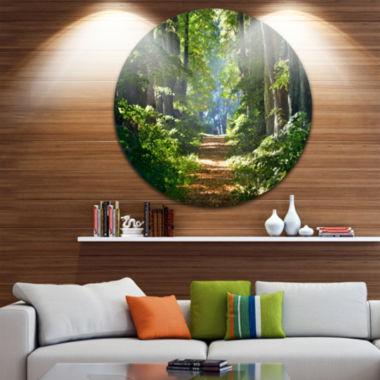 Design Art Bright Green Forest in Morning Landscape Oversized Circle Wall Art