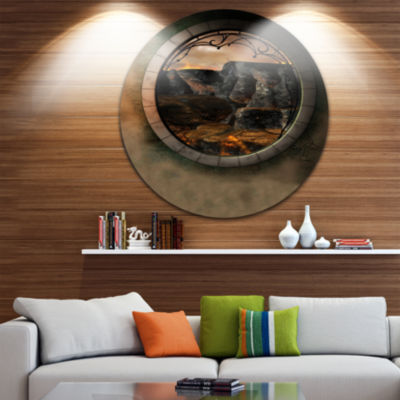 Design Art Brown Fantasy Landscape with Frame Photography Circle Metal Wall Art