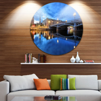 Design Art Illuminated Blue Stockholm Ultra Vibrant Cityscape Metal Circle Wall Art