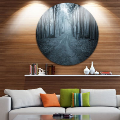 Design Art Dark Scary Forest with Fog Landscape Photography Circle Metal Wall Art