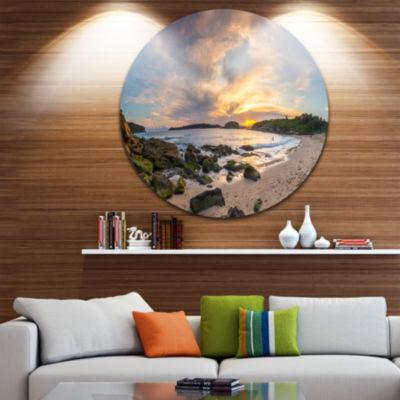 Design Art Sydney Seashore during Sunset Ultra Vibrant Seascape Oversized Circle Wall Art