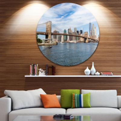 Design Art Summer Day Brooklyn Bridge Ultra Vibrant Cityscape Metal Circle Wall Art