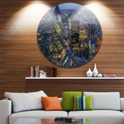 Design Art London Skyline at Sunset Ultra VibrantCityscape Metal Circle Wall Art
