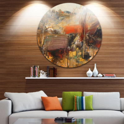 Design Art Brown Roofs Heavily Textured LandscapeCircle Metal Wall Art