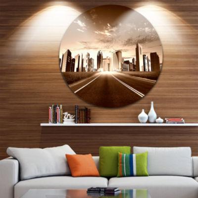 Design Art City and Road Ultra Vibrant Cityscape Metal Circle Wall Art