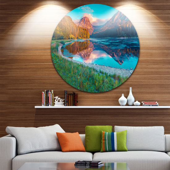 Design Art Beautiful Swiss Lake Obersee LandscapePhotography Circle Metal Wall Art