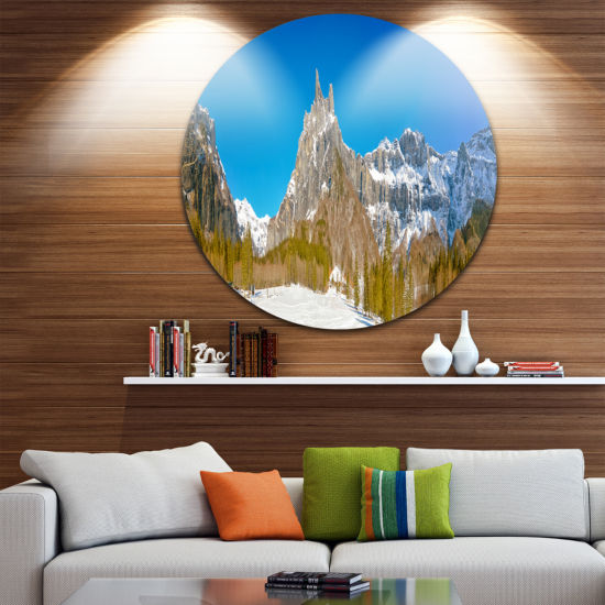 Design Art Sixt Fer a Cheval Panoramic View UltraVibrant Landscape Metal Circle Wall Art