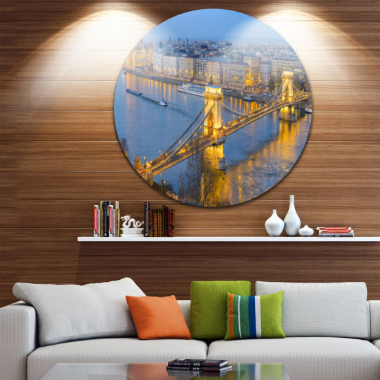 Design Art Chain Building and Parliament in Budapest Ultra Vibrant Cityscape Metal Circle Wall Art