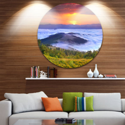 Design Art Yellow Sunrise over Blue Waters Landscape Photo Circle Metal Wall Art