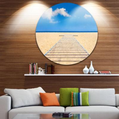 Design Art Beach and Sea with Wooden Floor Seashore Circle Metal Wall Art
