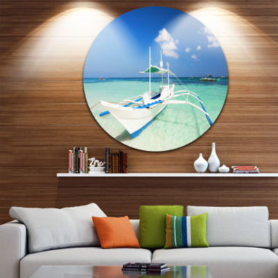 Design Art Boat in Blue Sea Water Ultra Vibrant Seascape Metal Circle Wall Art