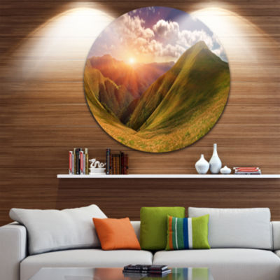Design Art Sunrise Over Green Mountains LandscapePhoto Circle Metal Wall Art