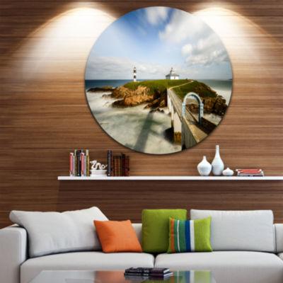 Design Art Cloudy Illa Pancha Lighthouse SeashorePhoto Circle Metal Wall Art