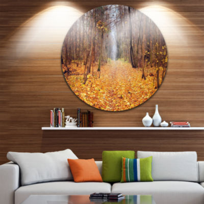 Design Art Yellow Fallen Leaves in Morning Landscape Photography Circle Metal Wall Art