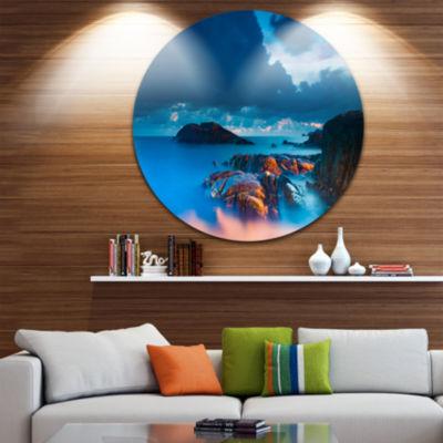 Design Art Rocky Sea with Long Exposure Seashore Photo Circle Metal Wall Art