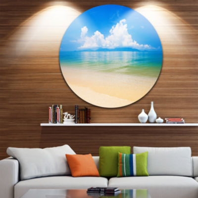 Design Art Cloudy Horizon Over Blue Sea Seashore Photo Circle Metal Wall Art