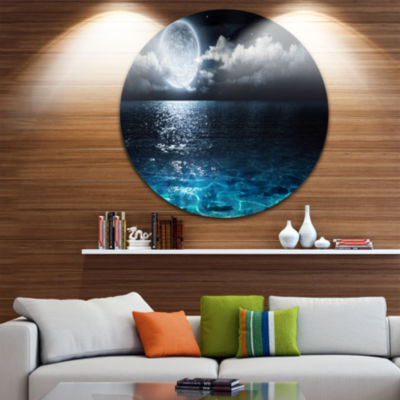 Design Art Romantic Full Moon Over Sea Seascape Circle Metal Wall Art