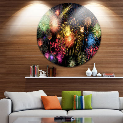 Design Art Colorful Fireworks at Night Sky SkylinePhotography Circle Metal Wall Art