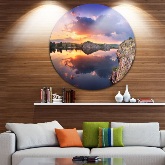 Design Art Sunset at River with Large Clouds Landscape Photography Circle Metal Wall Art