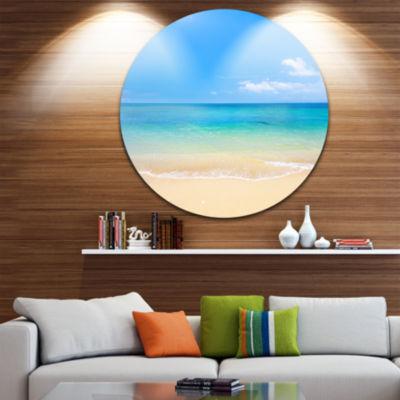 Design Art Blue Waters Below Blue Sky Seashore Photo Circle Metal Wall Art