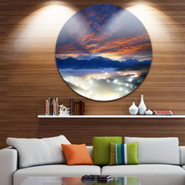 Design Art Fiery Clouds and Lit up Villages Landscape Photo Circle Metal Wall Art